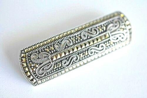 Vintage Deco Sterling Silver Marcasite Signed JJ Bar Pin Brooch Estate Jewelry