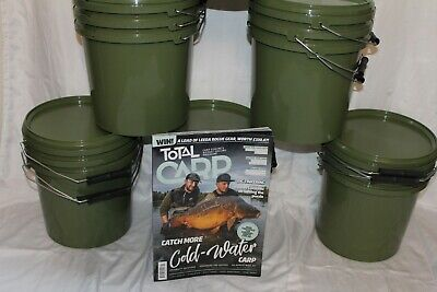 Carp Bait Buckets. 5 litre capacity with lids, set of 3 UK Stock