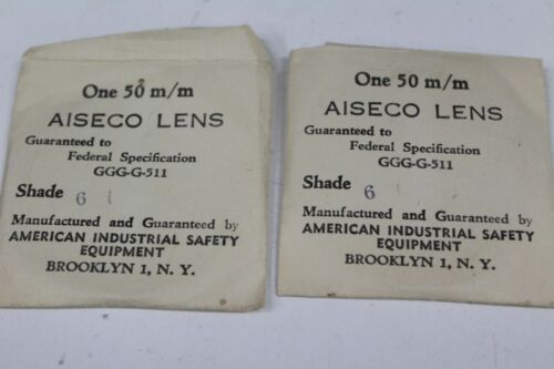 Pair Aiseco 50mm Green Filter Lens Shade No 6 Safety Glasses  Welding Goggles