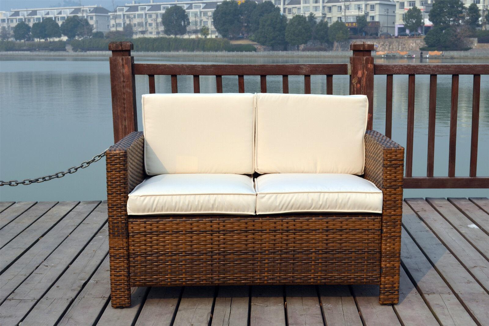 Garden Furniture - NEW TWIN RATTAN WICKER CONSERVATORY OUTDOOR GARDEN FURNITURE SET