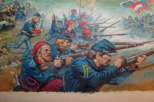 EARL NOREM PAINTING: illustration: civil war battle, NEW YORK ZOUAVES