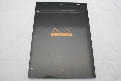 Rhodia Staplebound Notebook 8 14 X 11 34 Lined With Margin 3 Hole - Black