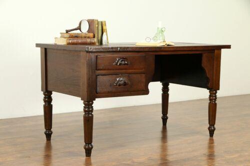 Victorian Antique Primitive Walnut Desk, Carved Pulls #31735