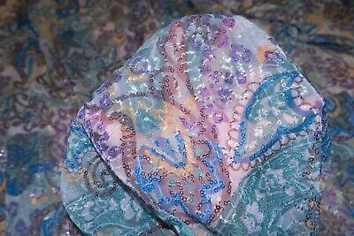 Clear Sequin Paisley Chiffon #101 100% Poly Costume Apparel Fabric BTY