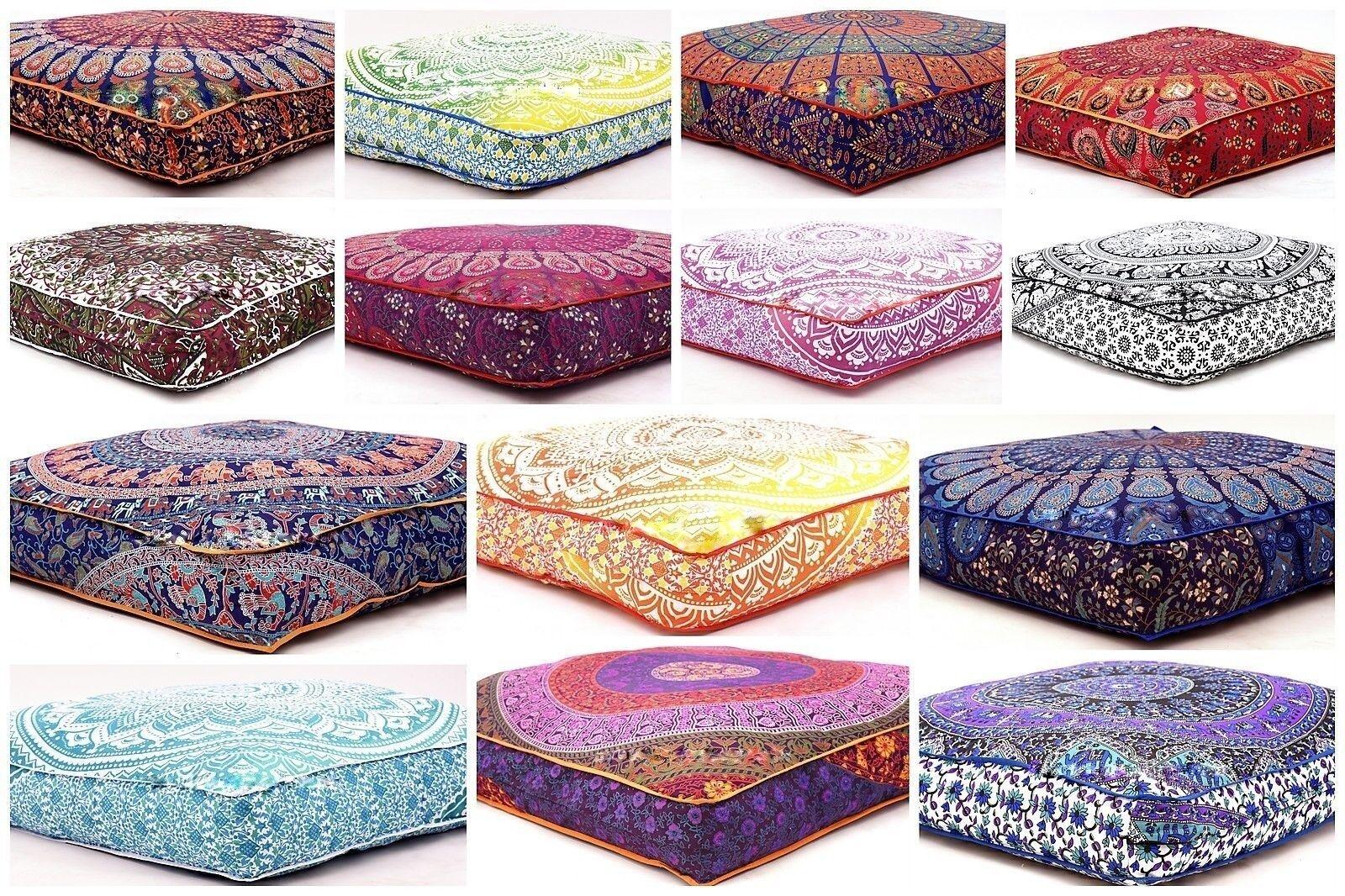 Bohemian Large Mandala Square Floor Pillow Throw Case Indian