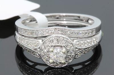 10K WHITE GOLD .48 CARAT WOMENS REAL DIAMOND ENGAGEMENT RING WEDDING BAND SET