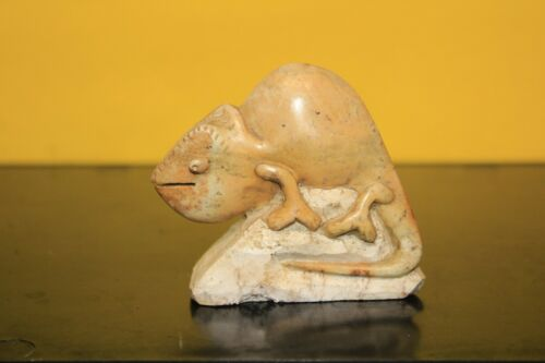 Chameleon lizard Stone carving  Brown Serpentine Shona Zimbabwe African Art #22