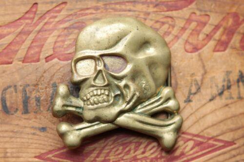 Vintage Solid Brass Cast Skull Bones Crossbones Bikers Belt Buckle