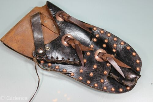 "Old Vintage Antique Western Hand Made Black Leather Pistol Holster RH 6"" S94"