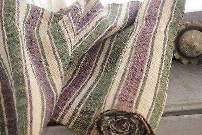 2.5 yards homespun hemp  hand-woven purple green linen table runner upholstery
