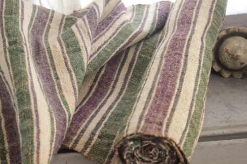 Hemp Fabric Striped handwoven 2.5 yards purple green linen for table or runner