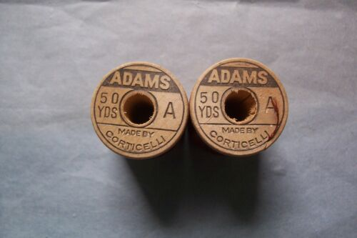 "2 Antique  Wooden Spools Silk Embroidery Sewing Thread ""Rare Adams"" ""Collectible"