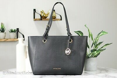 Michael Kors Walsh Black Leather Medium Multifunctional Tote Handbag Purse