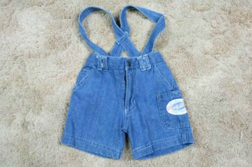 Vtg Kiwi Kids Toddler Denim Suspender Shortalls Blue Jean Shorts Size 2T 90s