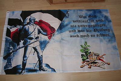 375  Fahne Flagge Kaiserreich  Wer Gott Vertraut   150 x 90