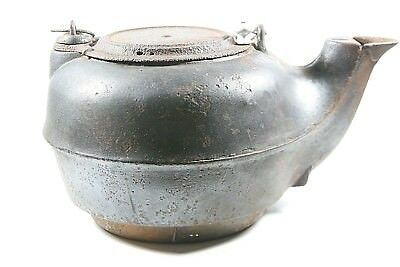 Old VINTAGE Antique Cast Iron TEAPOT Large Tea Pot Kettle #7 (Estate Sale Find)