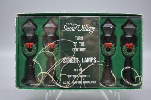 """Dept 56 Snow Village """"Turn of the Century Street Lights"""", Set of 4, Illuminated"""