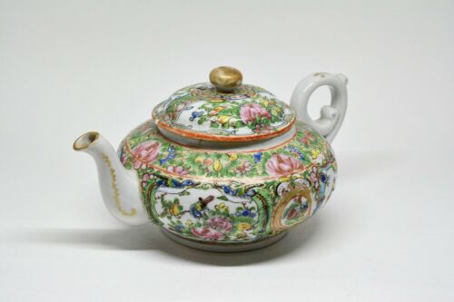 Antique Chinese Export Porcelain Rose Medallion Teapot, Marked CHINA