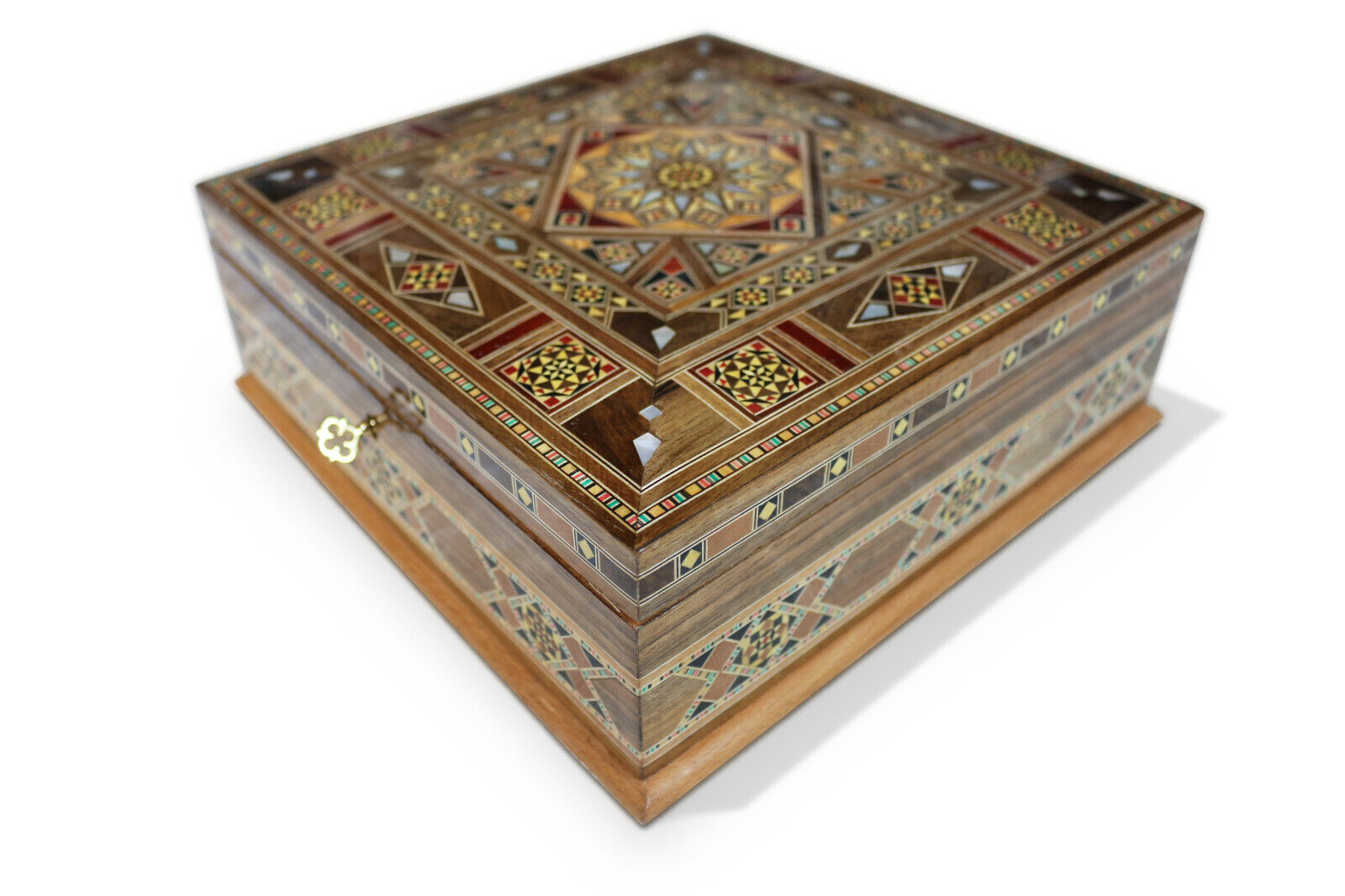 Schmuckkasten Holzschatulle  mit Perlmutt  Kunsthandwerk,Schmuckbox,Damaskunst