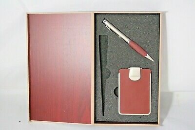 Elegant Wooden Box Set With Pen And Business Card Holder Letter Opener Missing