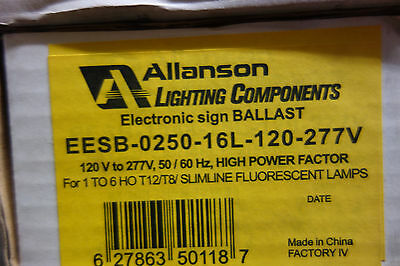 ALLANSON ELECTRONIC SIGN BALLAST EESB-0250-26L 4,5,6 HO, T-8 120-277 MULTI VOLT