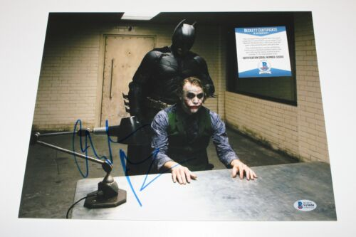 CHRISTIAN BALE SIGNED 'THE DARK KNIGHT' 11x14 MOVIE PHOTO BECKETT COA A BATMAN
