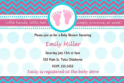30 Invitations Baby Shower or Sprinkle Unisex Teal And Pink Chevron A1](Sprinkle Baby Shower Invitations)