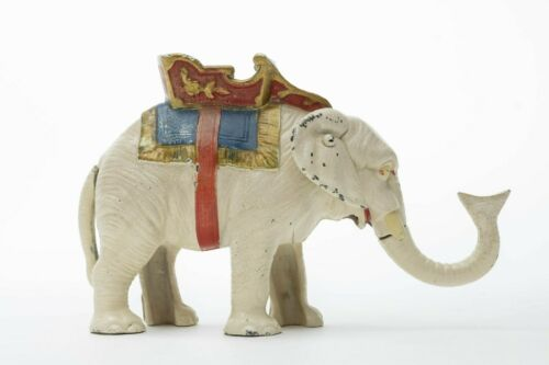 Antique Original HUBLEY Painted Cast Iron ELEPHANT HOWDAH Mechanical Bank