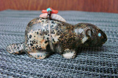 Vintage Navajo Fetish Stone Carved Beaver By Herbert Davis Native Am. Early 90