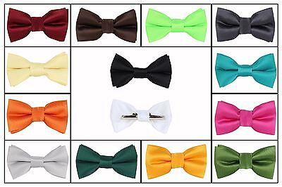 Boys Solid Bow tie Clip On Green Gold Orange Yellow Red Blue Brown Silver (Gray Boys Tie)