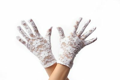 Handschuhe Spitze Spitzenhandschuhe Damen kurz Weiß Gothic Viktorianisch Barock (Weiße Spitzen Handschuhe)