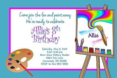 Paint Party Invitations (Paint Painting Birthday Party Invitation Boy or Girl Any Colors Add)