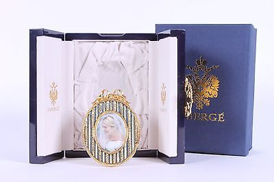 FABERGE Guilloche Enamel & Gilt Oval Cradle Picture Frame ~ NEW in Box