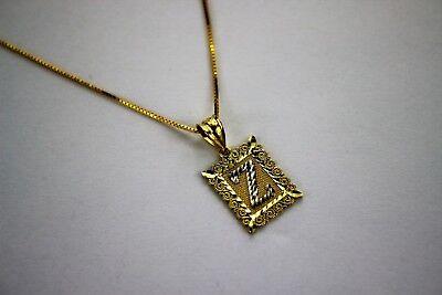 10K Gold Initial Pendant Charm Diamond Cut for Boy Men & Box Chain Diamond Cut Boy Pendant