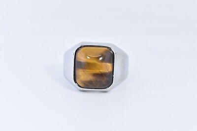 Vintage Stainless Steel Genuine Tiger's Eye Size 9.25 Men's Ring