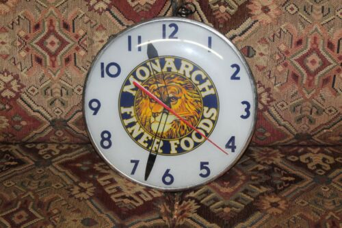 1950s Monarch Finer Foods Telechron Advertising Glass Clock