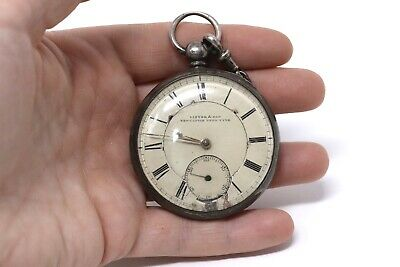 Antique Victorian C1864 Sterling Silver Fusee Key Wind Pocket Watch A/F 109.3g