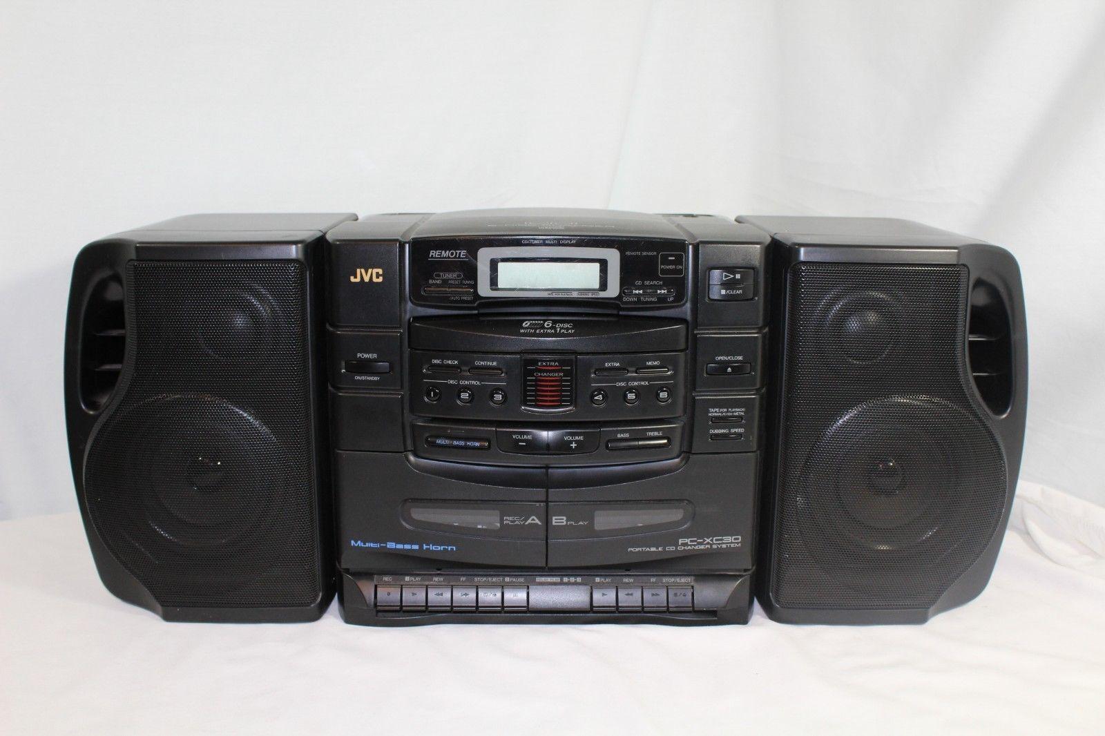 JVC Pc-xc30 Boombox 6 CD Changer Dual Cassette Deck Am/fm Portable System |  eBay
