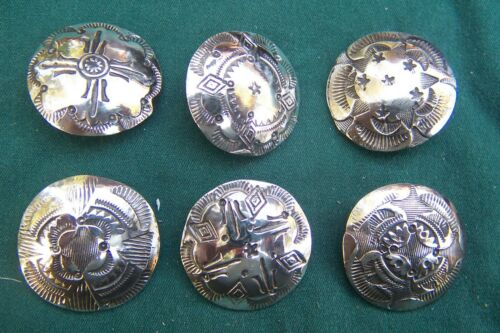 """6 Vintage coin silver Navajo buttons. 1"""" in good stamp work-strong"""