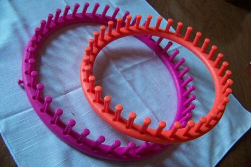 "2 round loom plastic frame set Knit hat sock scarf 9 & 11 """