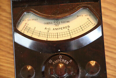 Ge Antique Ac Amperes Meter 0-5 And 0-10 Amp Rangesclassic Instrumentation