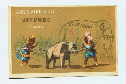 Victorian trade card JAS. S. KIRK & CO. SOAP MAKERS, CHICAGO IL. Black Americana