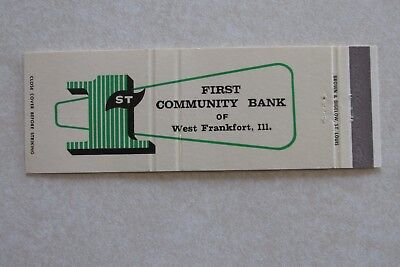 F24 Vintage Matchbook Cover First 1St Community Bank West Frankfort Il Illinois