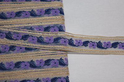 "$1 yard Tan Lavender purple Navy Blue embroidered sheer organza ribbon trim 3/4"""