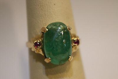 Cabachon Gemstone (Vintage 14KY Emerald Cabachon Ladies Ring 4.2 Grams 13.5x9mm Gemstone Size 7)