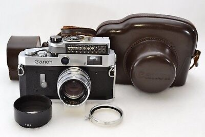 *NMint* Canon P 35mm Rangefinder Camera w/50mm f1.8 Lens,Hood, Meter, Case #1290