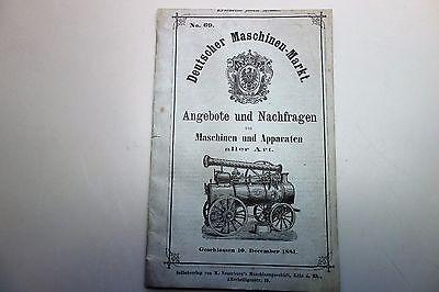 Deutscher Maschinen-Markt 1881 Angebote Nachfragen Nr.69 Locomobile Feuerlöscher Mobile Angebote