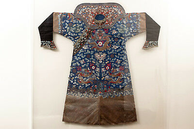 A Rare Qing Dynasty Embroidered Silk Dragon Robe with Matching Collar, Framed.