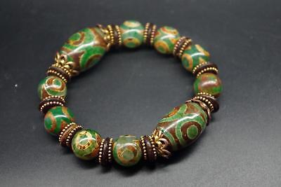 China Tibet natural green agate jade day bead DZI string bracelet