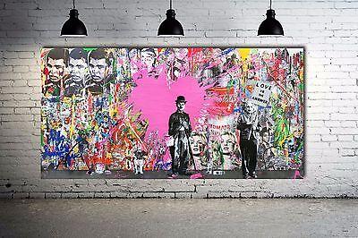 Banksy Grafitti Street Art Collage Canvas Print 40 x 20 Print - Vol. 9 Urban Art